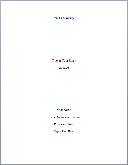 do cover page essay mla format
