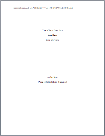 apa formatting cover page Note: the full title is also at the beginning of the manuscript pages (identical in format to the one on the title page) american psychological association.