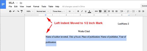 mla format using google docs