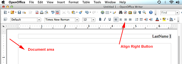 mla format using openoffice