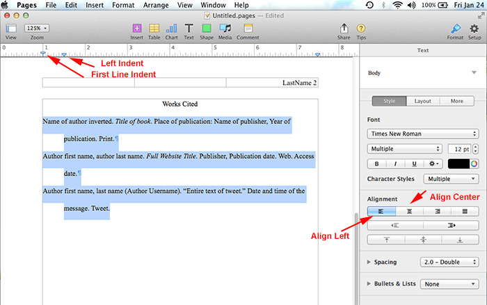 mla format using pages on mac