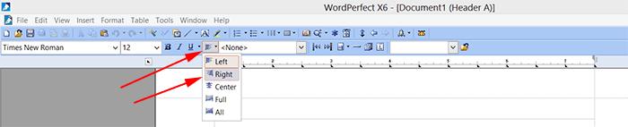 wordperfect-mlaheadersalignright